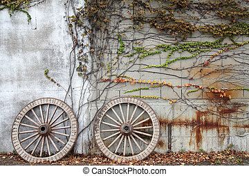 wooded cart wagon wheel - Antique and weathered wood cart...