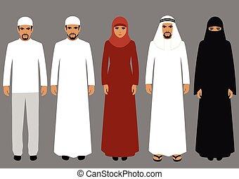 arabic people - vector illustration, arabic people, arab...