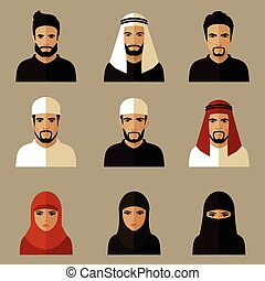 arabic people - vector illustration, arabic people, arab...