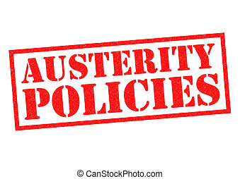 AUSTERITY POLICIES red Rubber Stamp over a white background.