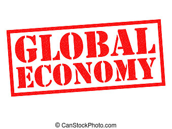 GLOBAL ECONOMY red Rubber Stamp over a white background