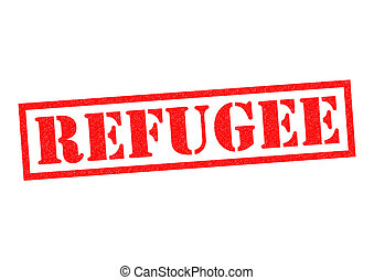 REFUGEE red Rubber Stamp over a white background