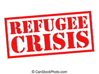 REFUGEE CRISIS red Rubber Stamp over a white background.