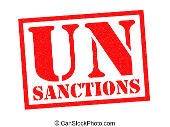 UN SANCTIONS red Rubber Stamp over a white background