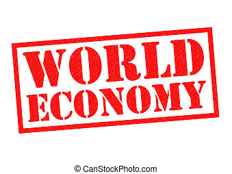 WORLD ECONOMY red Rubber Stamp over a white background