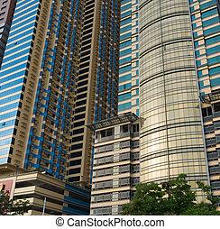 modern skyscraper - detail of a modern skyscraper in manila,...