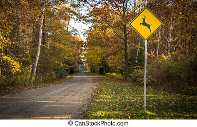 Rural Road With Deer Crossing Sign - Deer crossing sign on...