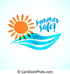 Sun wave ocean illlustration - Vector watercolor logo with...