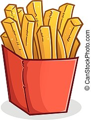 French Fries in a Box Cartoon - A large red box of...