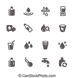 Simple Water Icons - Simple Set of Water Related Vector...