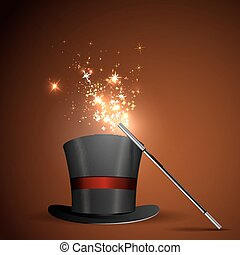 wand and magical hat - Background glowing wand and magical...