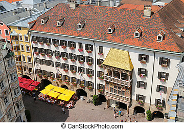 Golden Roof Goldenes Dachl - High angle view of the iconic...