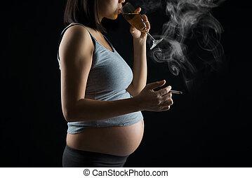 embarazada, madre, Fumar, y, bebida,