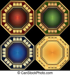 Set decorative elegant octagonal frames (vector) - Set...