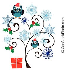 owl tree - vector winterr tree with owls and snowflakes