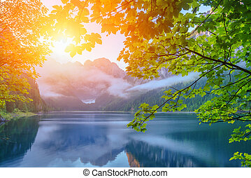 Gosausee - Fantastic morning on mountain lake Gosausee,...