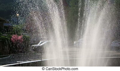 Jets of fountain in the sun.