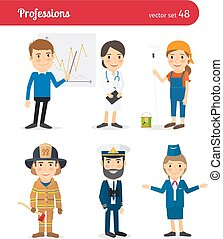 Businessman, MD, female worker and firefighter occupations -...
