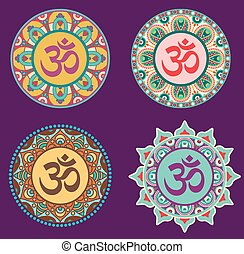 ohm - vector set of traditional mystical Buddhist sign onm...