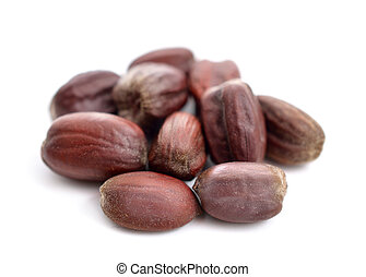 Jojoba (Simmondsia chinensis) seeds. Isolated on withe...