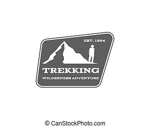 Vintage mountain, hiking, trekking camp logo, label, badge. Stylish Monochrome design. Outdoor activity theme. Summer and winter vacation insignia. Vector.