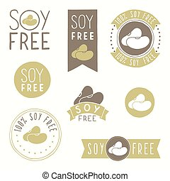 Soy free hand drawn labels Vector EPS 10 illustration