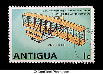wright brothers - mail stamp printed in Antigua showing the...