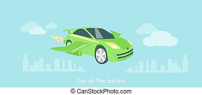 Car of Future Icon Flat Isolated