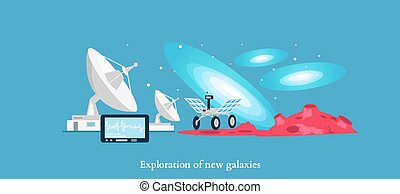 Exploration New Galaxies Icon Flat Isolated