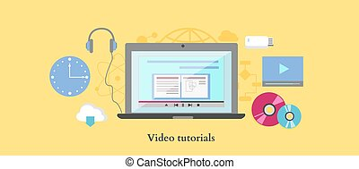 Video tutorial icon flat design style Online education,...