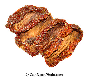 Sun Dried Tomatoes - Wrinkled sun dried tomatoes isolated on...