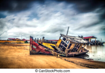 blurred image and abstract of abandon shipwrecked. dark...