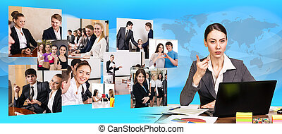 ラップトップ, 女, 仕事, ビジネス