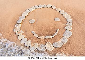 Emoticon of white pebbles