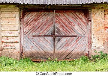 madeira, antigas, portões