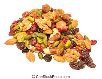 Mixed Fruit And Nut Background - Mixed fruit and nut...