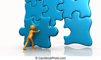 3D man completing a big puzzle against a white background