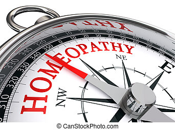 homeopathy red word on concept compass, isolated on white...
