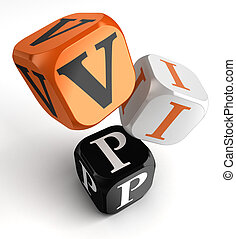 VIP Very Important Person orange black dice blocks