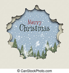 Forest snowfall - Christmas card illustration with a forest...