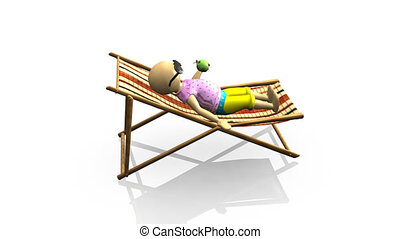 3D man relaxing on a reclining chair against a white...