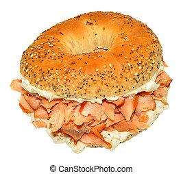 Salmon And Cream Cheese Bagel - Smoked salmon and cream...