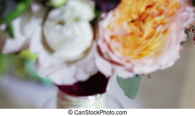 Bridal bouquet at home - Lying on table for ceremony bridal...