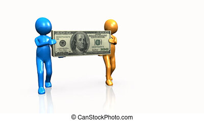 Two 3D men carrying a dollar against a white background