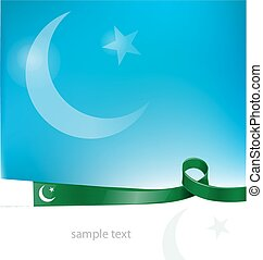 pakistan ribbon flag on sky background