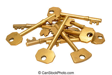 Old Brass Door Keys - Pile of old brass door keys isolated...