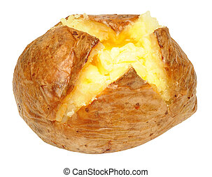 Baked Potato With Melting Butter - Freshly baked potato with...
