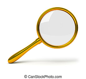 golden loupe - Golden loupe 3d image Isolated white...
