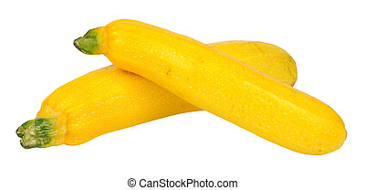 Yellow Courgettes - Two ripe yellow courgettes isolated on a...