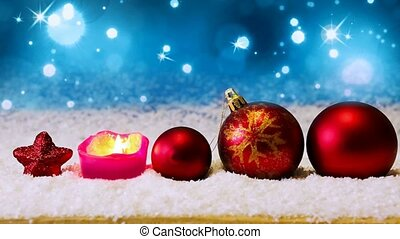 Advent candle and red Christmas balls . - Red christmas...